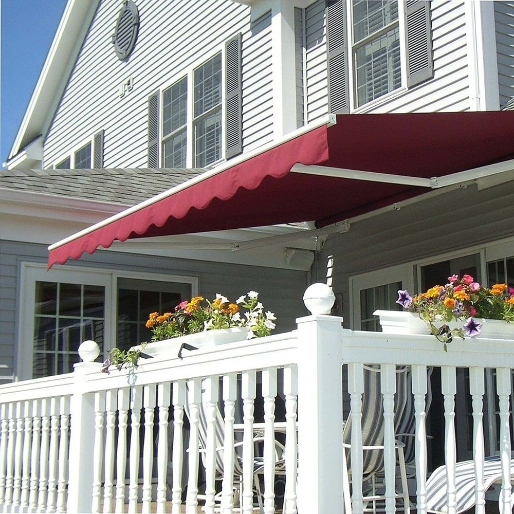 Aleko Motorized Retractable Outdoor Home Patio Awning 12 X10 Burgundy Burgundy Red Synthetic Fiber In 2020 Patio Awning Patio Design Outdoor Patio