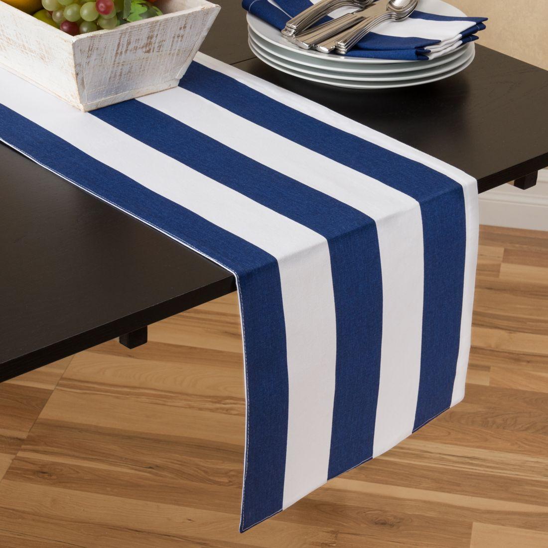 Superb Navy Blue U0026 White Stripes Table Runner