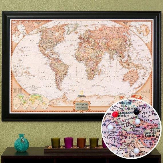 Personalized executive world travel map with pins and frame push personalized executive world travel map with pins and frame push pin travel map world pin map great learning tool home decor publicscrutiny Gallery
