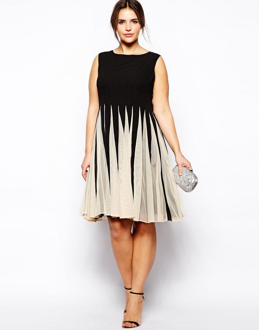 Alle Kleider partykleid für mollige : Bild 4 von ASOS CURVE – Ausgestelltes Kleid in Schwarz/Weiß mit ...