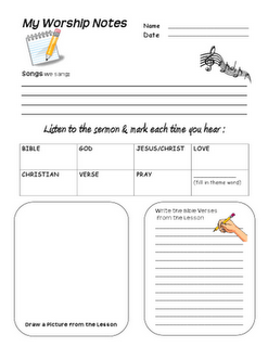 Favorite sermon note worksheet for kids - these were great