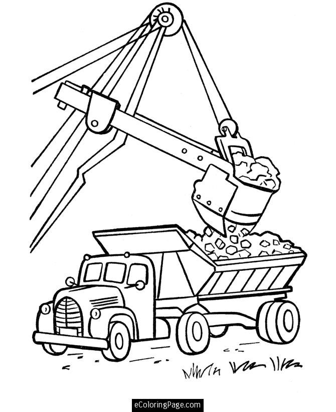 Excavator And Dump Truck Printable Coloring Page Ecoloringpage