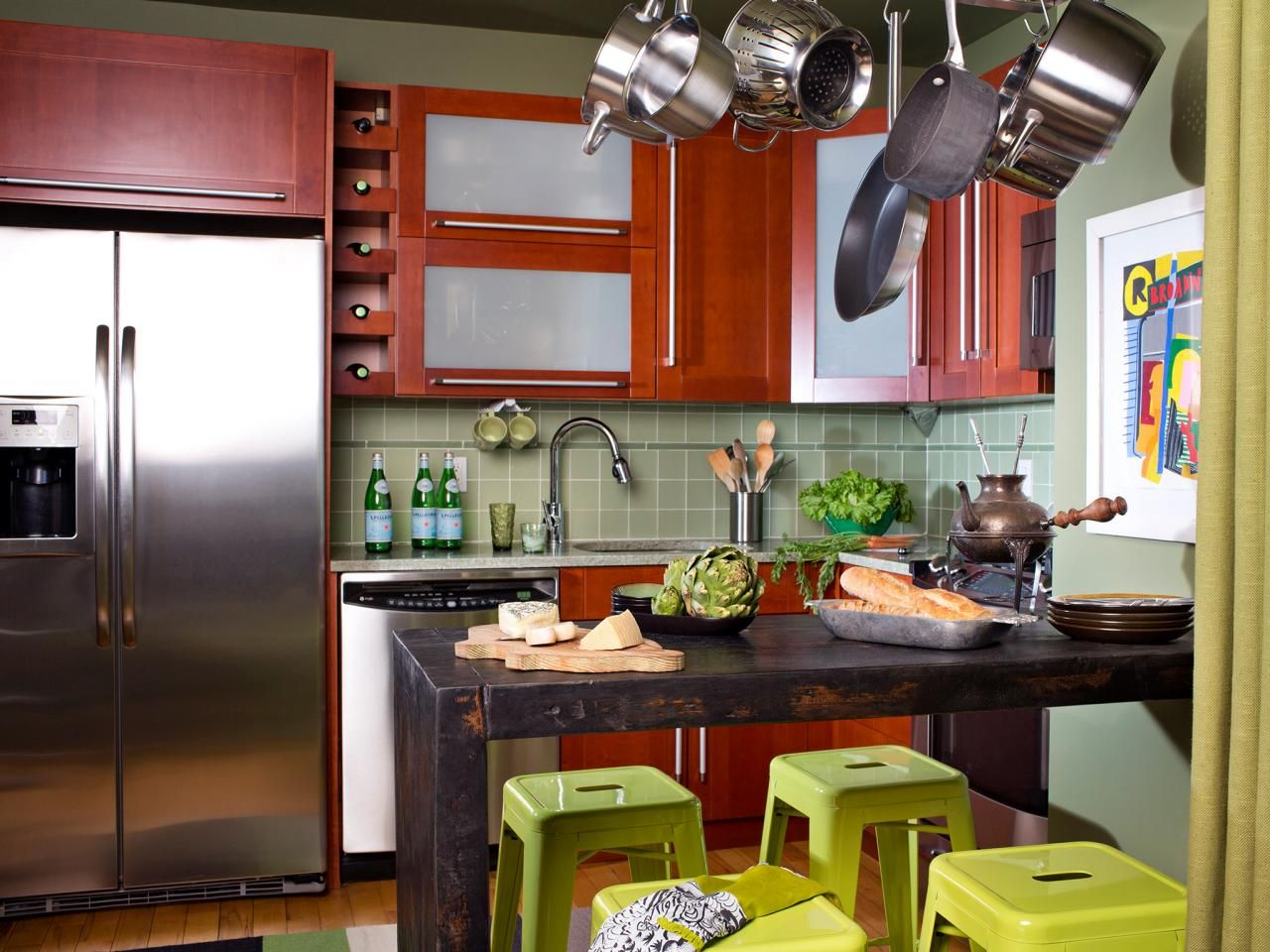 Smallkitchen Design Tips  Hanging Pot Racks Pot Rack And Bar Extraordinary Small Remodeled Kitchens Ideas Design Decoration