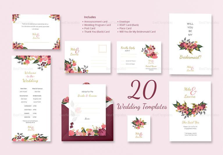 burgundy floral wedding templates includes 20 designs wedding