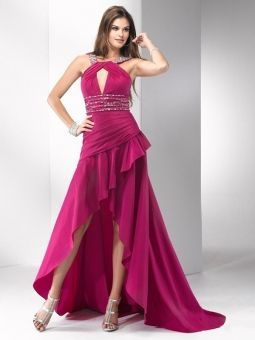 A-line Halter Fuchsia Ruffled Beading Taffeta Asymmetrical Formal Dress