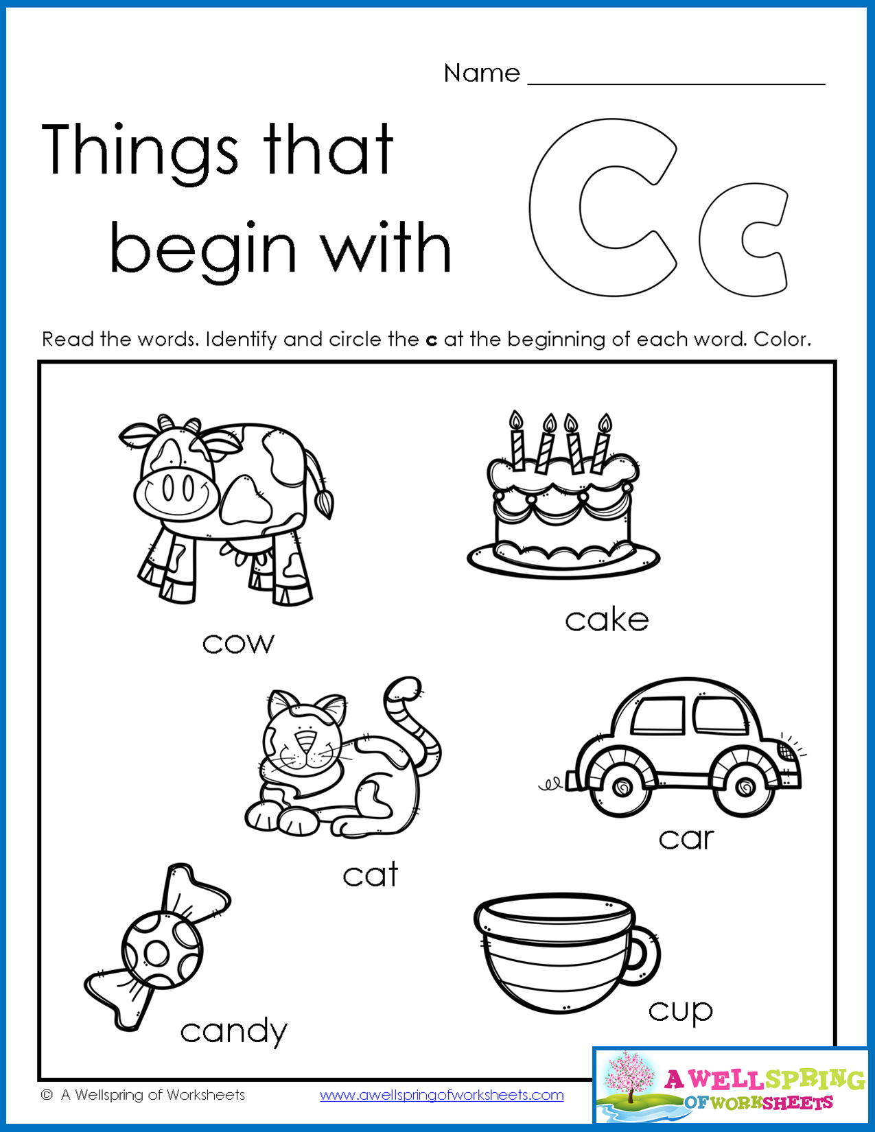 Things that Begin with AZ Worksheets Kids read the words