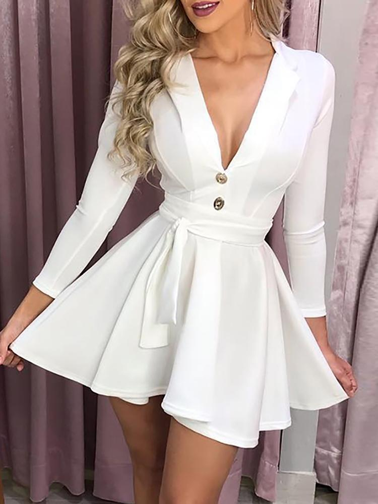 Long Sleeve Button Design Self Belted Dress Ropa De Moda Mujer Ropa Elegante Moda De Ropa