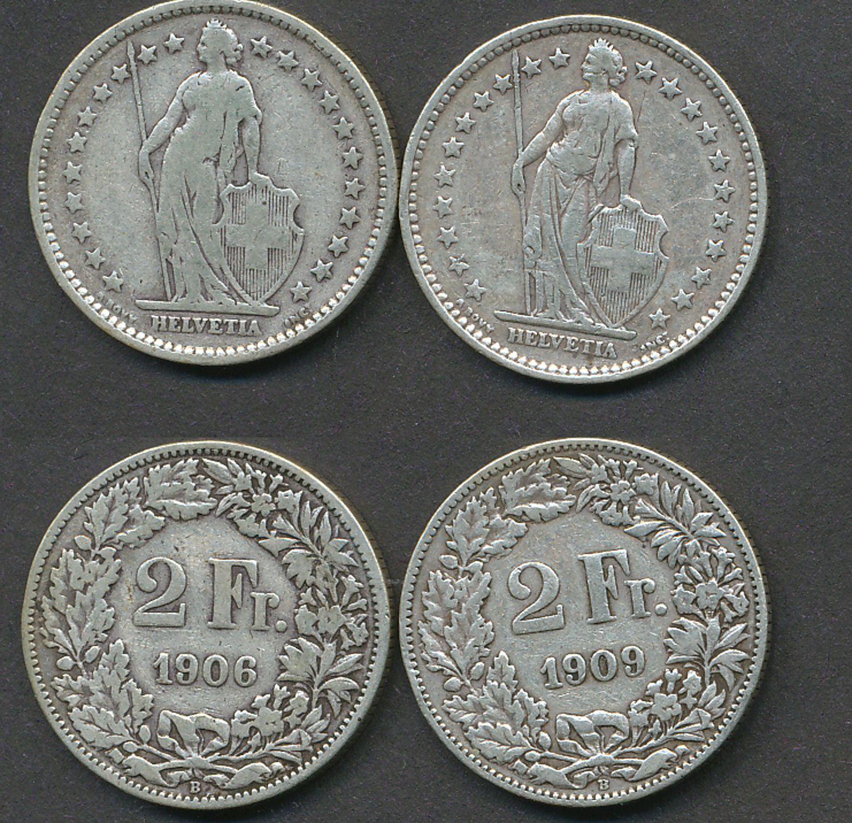 2 Münzen 2 Schweizer Franken 1906 U 1909 Mit Schöner Patina Silber