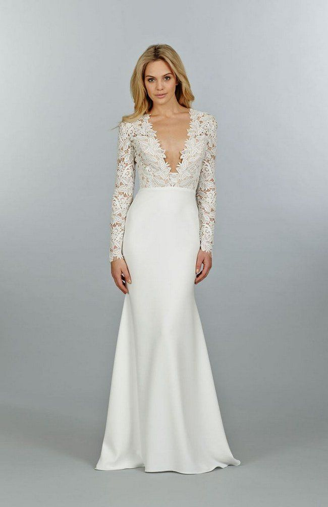 A Little Higher In The V Neck But Love The Lace On Top And The Satin On The Bottom And How It J Wedding Dress Sleeves Wedding Dress Long Sleeve Wedding