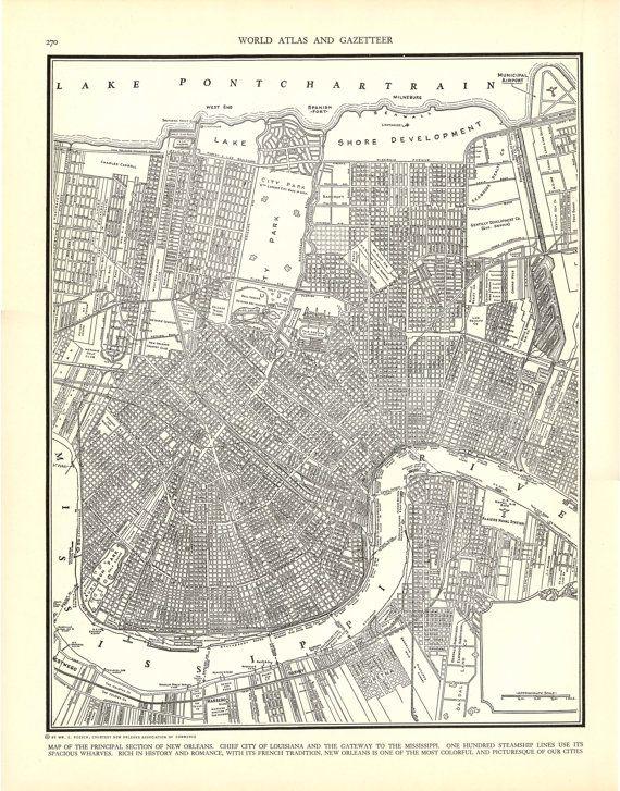 NEW ORLEANS 1935 Vintage City Map Colliers by wordsandmelodies