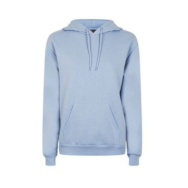 TopShop Oversize Hoodie (£26) ❤ liked on Polyvore featuring tops, hoodies, pale blue, hooded pullover, blue hoodies, oversized hoodie, hoodie top and blue hoodie