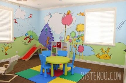 Dr. Seuss Playroom - Link to actual log on this link.  I really want to do this on at least ONE wall in the play room...