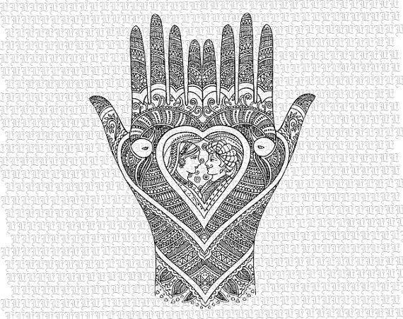 Mehndi Ceremony Clipart : Vintage henna tattoo mendhi hands hindu wedding antique