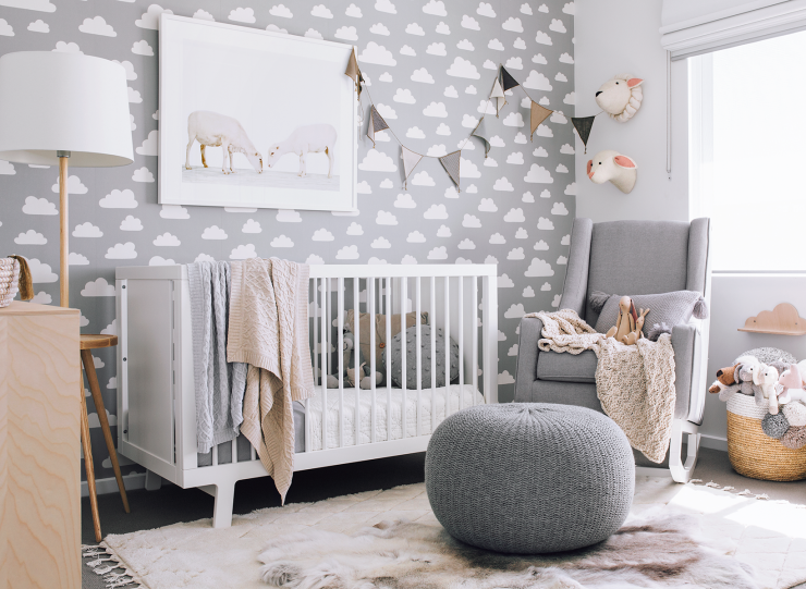 Beautiful Grey Nursery With White Oeuf Sparrow Crib Oeufnyc