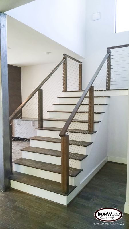 Ironwood Connection Cable Rail Systems Staircase Design Modern | Wood And Cable Stair Railing | Dark | Diy | Exterior Irregular Stair | Residential | Forgings