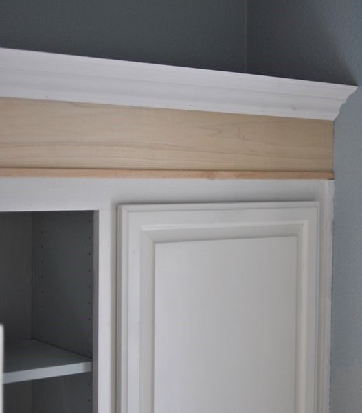 Adding tall crown molding then painting cabinets link to for Attaching crown molding to kitchen cabinets