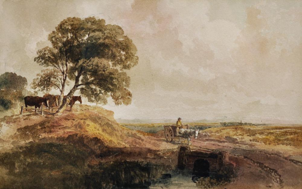Peter De Wint 1784 1849 British A River Landscape With A Horse