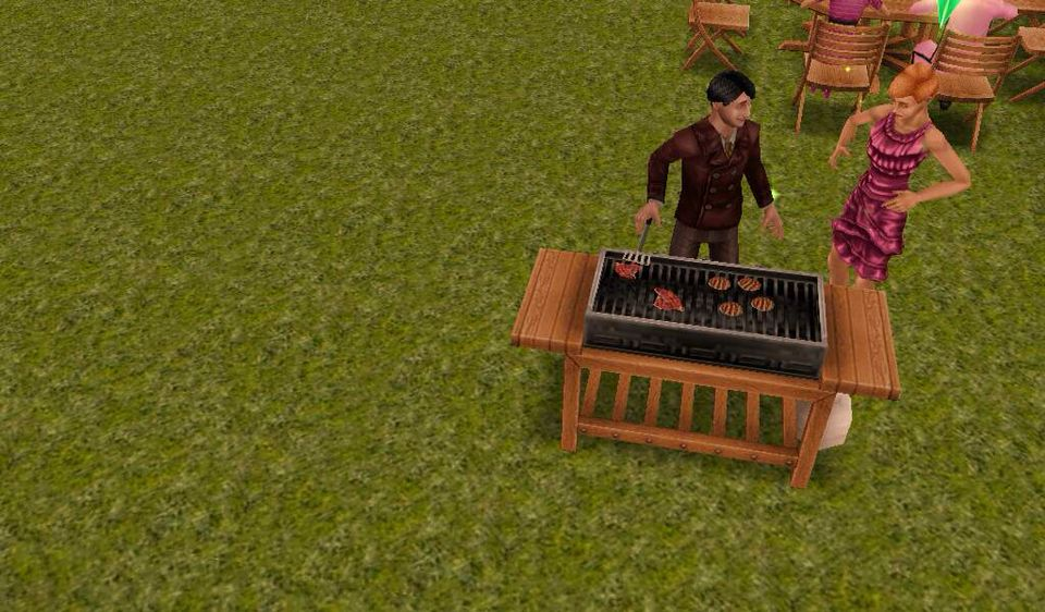 Grilling for his wifey