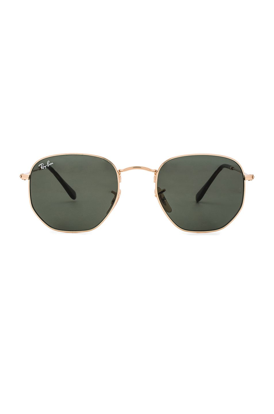 d8da2cb30bc Image 1 of Ray-Ban Hexagon Sunglasses in Gold Ray-Ban Icon Oval Flat Lens  ...