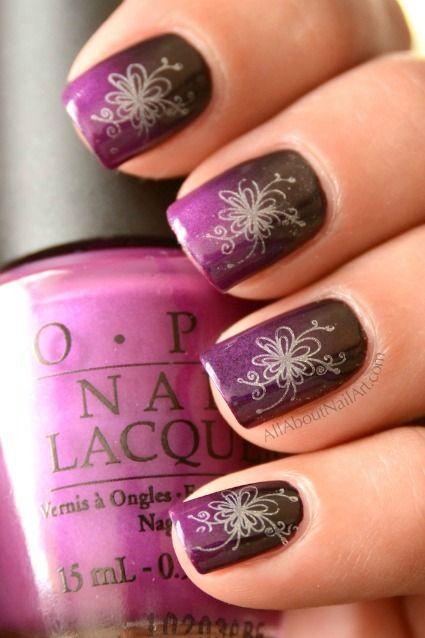 Tutorial For A Beautiful Konad Nail Art Design Your Main Color Is Done Using Sponged Grant With Gorgeous Stamped Flower