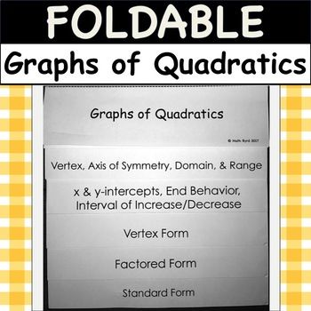 Foldable Graphs Of Quadratics Graph Vertex Factored Standard