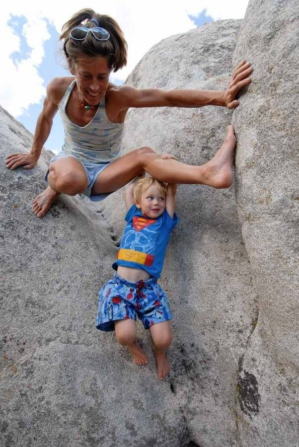 The great Lynn Hill, Icon and happy Mom! via Patagonia Climbing