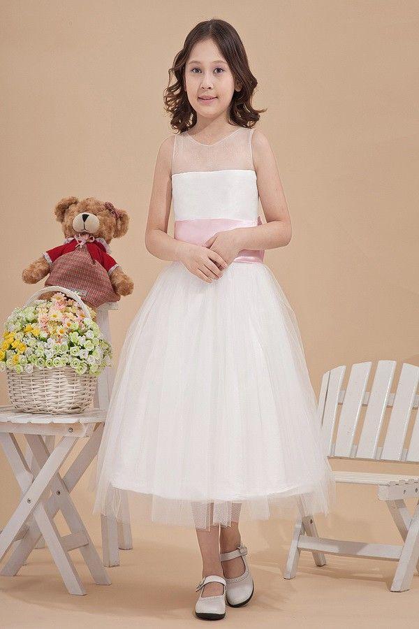 Supreme Tulle V-Neck Tea-Length Ball Gown Flower Girl Dress | Flower ...