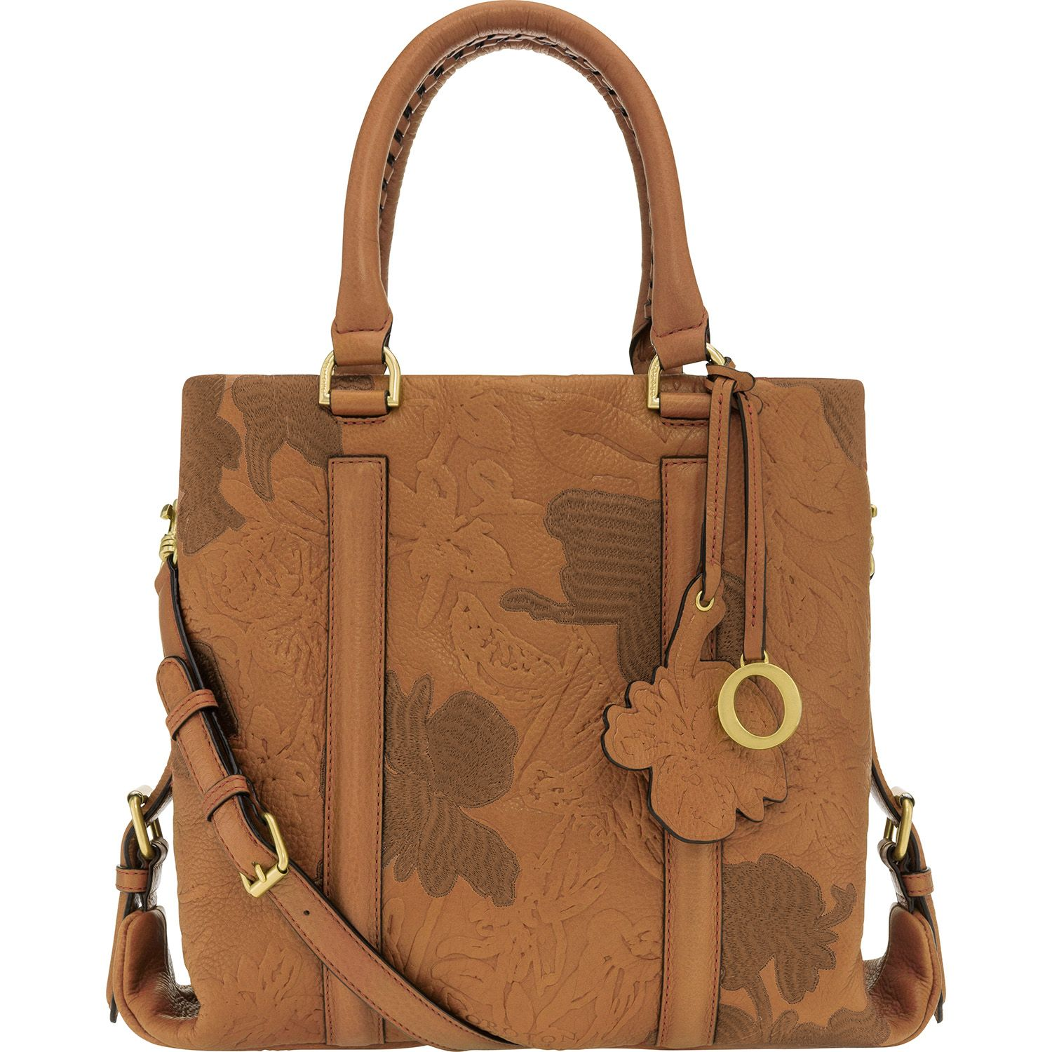 The journey by rose embroidered medium tote in tan