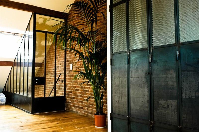 réalisation de verrière en metal type atelier porte coulissante - porte coulissante style atelier