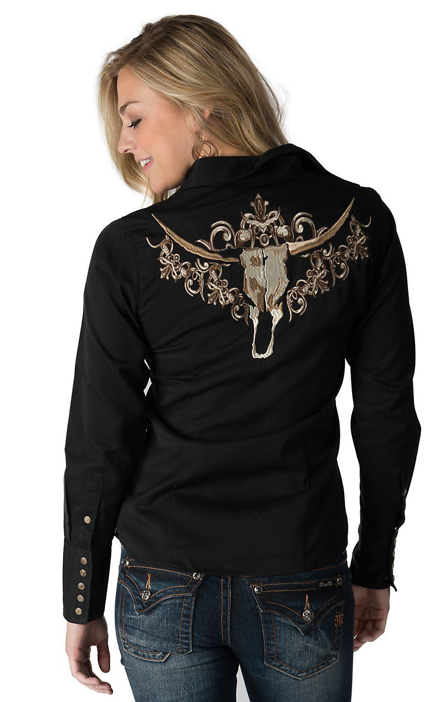8788b8c269 Roper Women s Black with Tan Embroidered Longhorn Long Sleeve Western Shirt