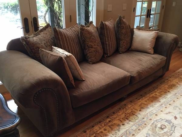 Large Brown Microfiber Couch And Loveseat