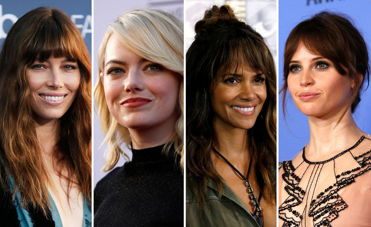 Jessica Biel, Emma Stone, Halle Berry ja Felicity Jones todistavat, että otsis sopii jokaiselle. Kuvat: Reuters