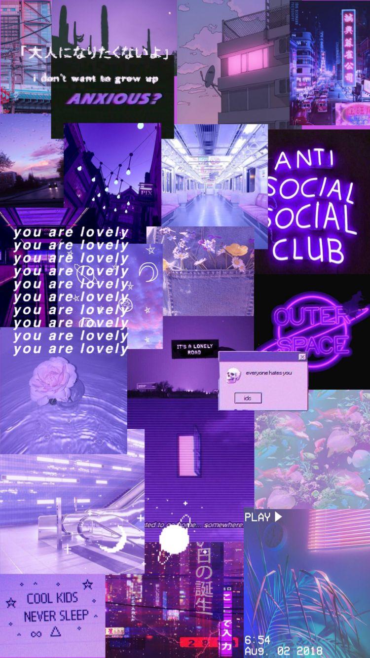 A Purple Aesthetic Neon Aesthetic Iphone Wallpaper Purple Butterfly Wallpaper Cute Emoji Wallpaper