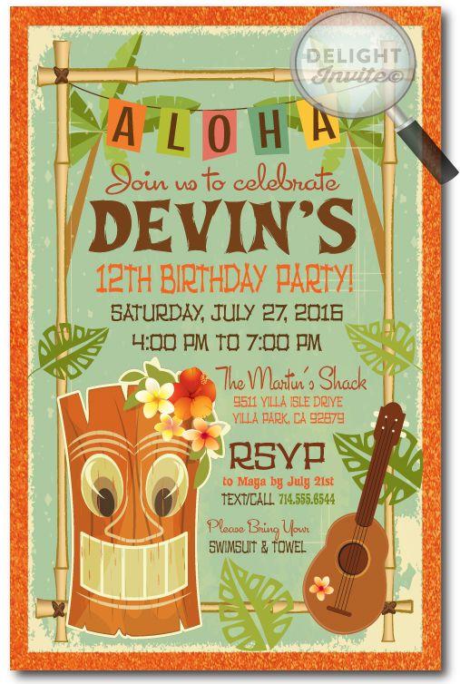 Tiki luau birthday party invitation wording httpwww retro hand made hawaiian tiki luau party invitations professionally printed on beautiful metallic paper stopboris Choice Image