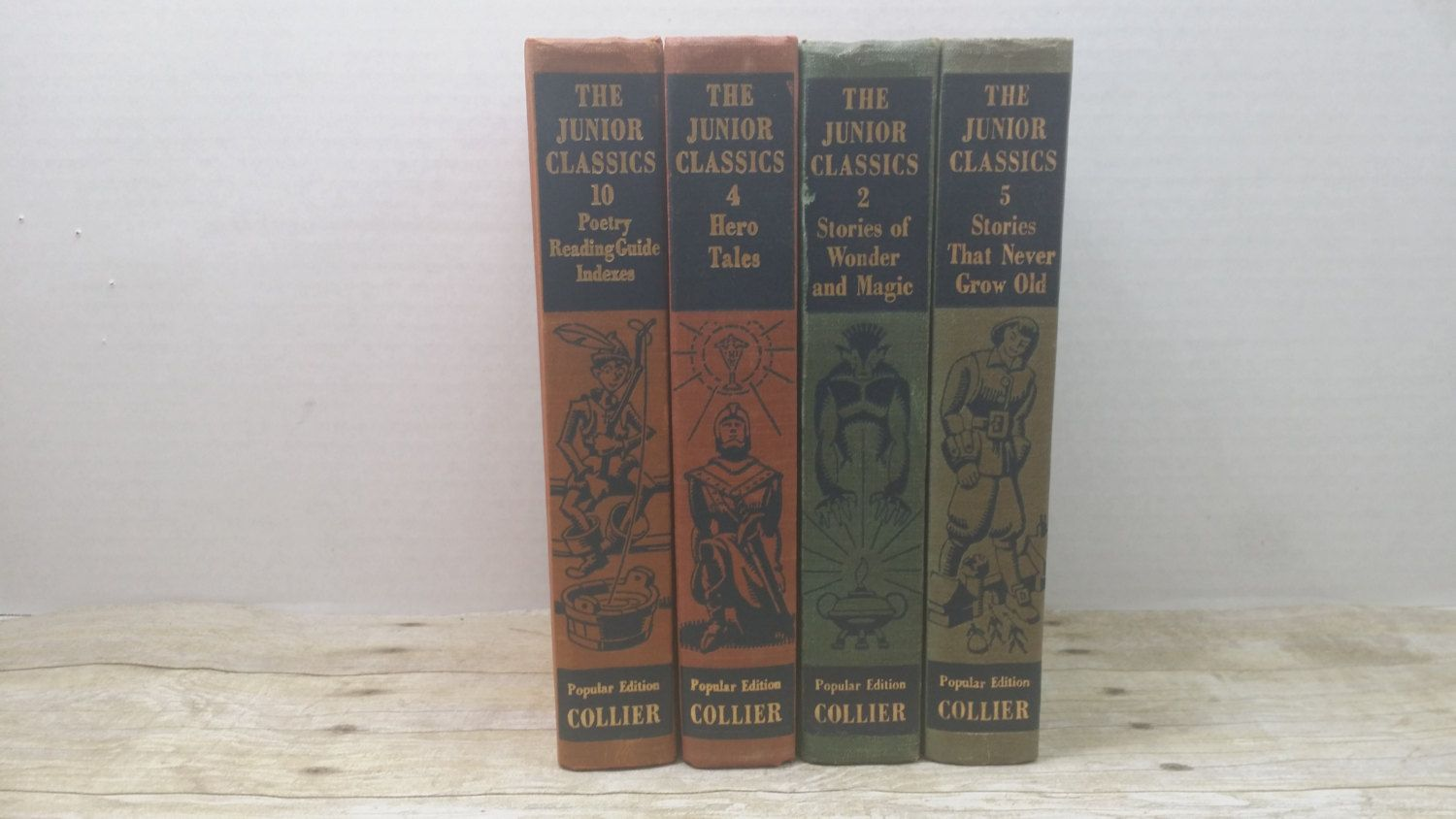 The Junior Classics, set of 4, 1948, vintage kids books, book collection by RandomGoodsBookRoom on Etsy