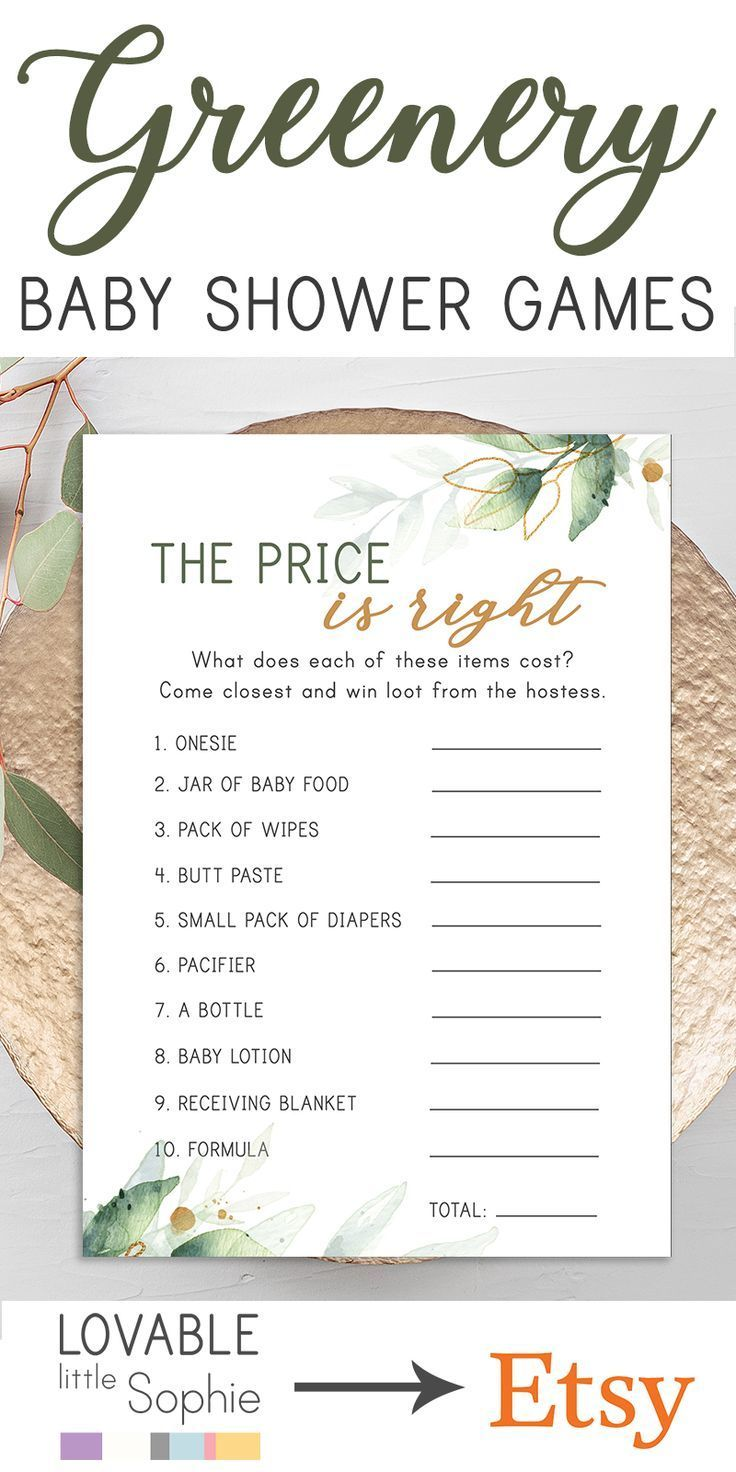 Price is Right Baby Shower Game The Price Is Right Baby Shower Price is Right Greenery Baby Shower Games Botanical Baby Shower Games, S003