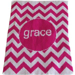 Personalized Acrylic Stroller Blanket with Chevron