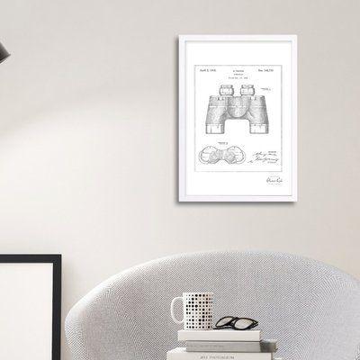 Trent Austin Design 'Binocular 1945' Framed Drawing Print in Silver Frame Color: