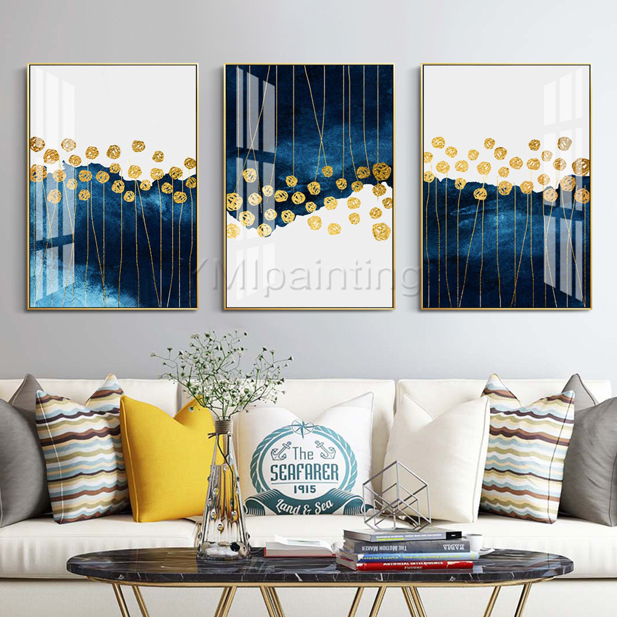 Abstract Floral Painting Framed Painting Navy Blue Gold Art Etsy Abstract Floral Paintings Painting Frames Cactus Wall Art