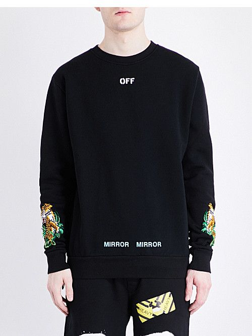 246ef42f40d2 OFF-WHITE C/O VIRGIL ABLOH Tiger-embroidered cotton-jersey sweatshirt