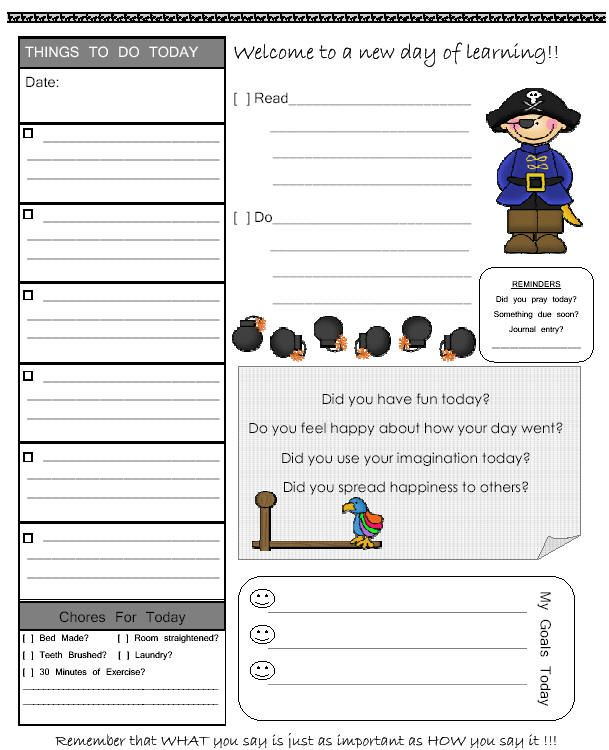 Free Assignment Sheets For Homeschoolers and Teachers