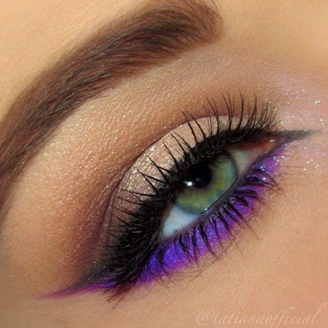 Neutral Shimmer Eye Makeup - Soft Smudged Wing Eyeliner - Purple Winged Lower Lash Line - Lashes - Green Eyes ❤