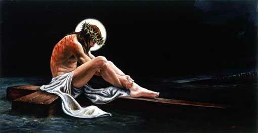 Jesús Sentado Sobre La Santa Cruz