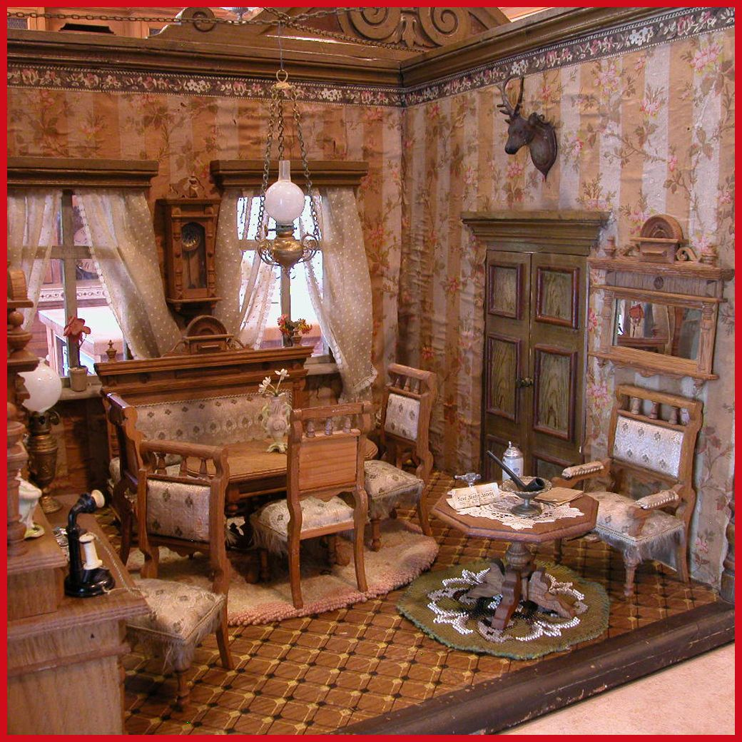 Deluxe German Wooden Dollhouse Double Room Box From The