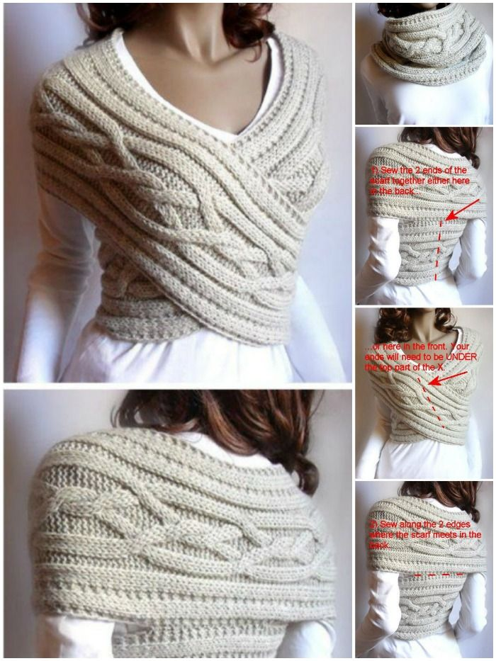 DIY Women Cable Knitted Sweater Cowl-Vest (Video) #knittedsweaters