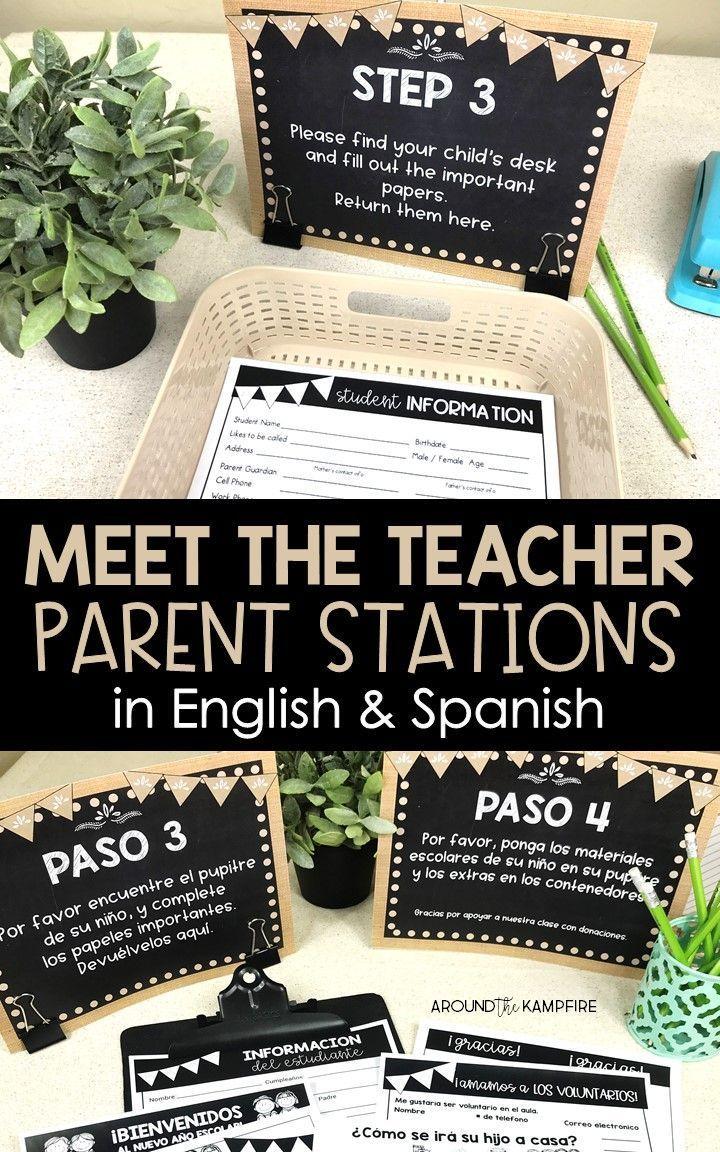Meet the Teacher Back to School Night Parent Forms Stations Labels BURLAP
