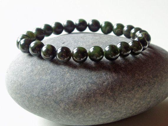 High Quality 8mm Canadian Nephrite Jade Bracelet Mens Nephrite Jade Bracelet Canadian Nephrite Jade Green Jade Authentic Nephrite Jade