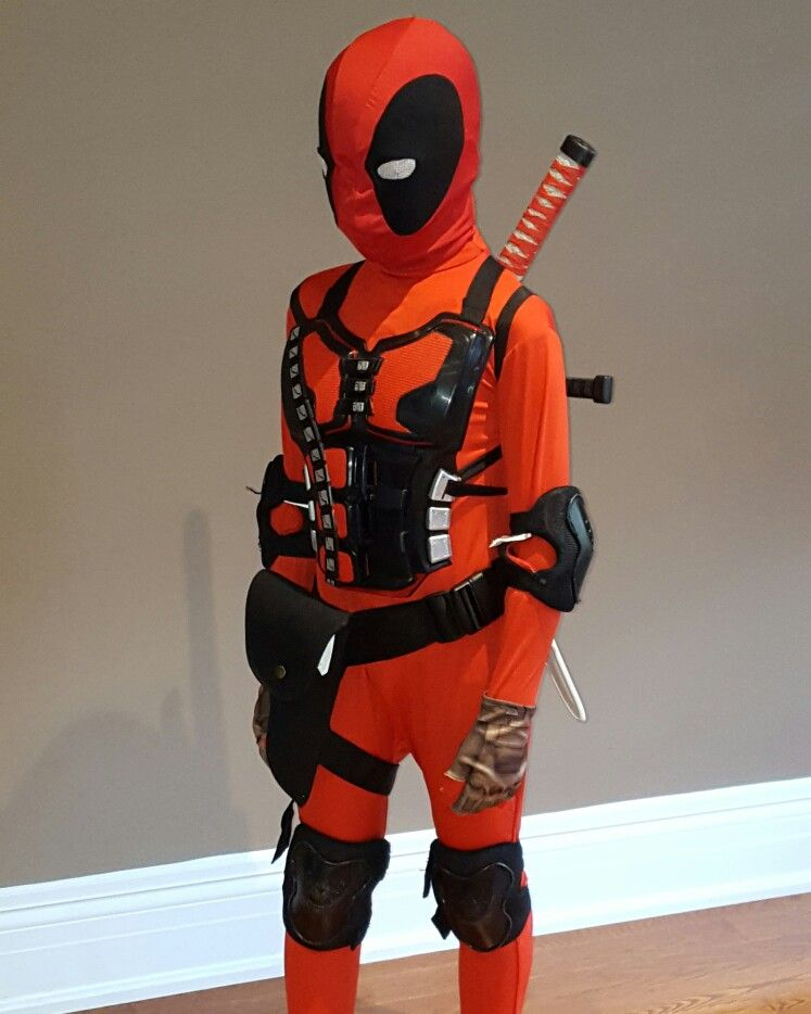 deadpool kids costume diy second skin rolerblade gear for knees and elbows combat gloves samurai chest piece painted red if silver mask