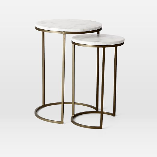 Marble Round Nesting Side Table Set Of 2 Marble Side Tables Side Table Marble Table