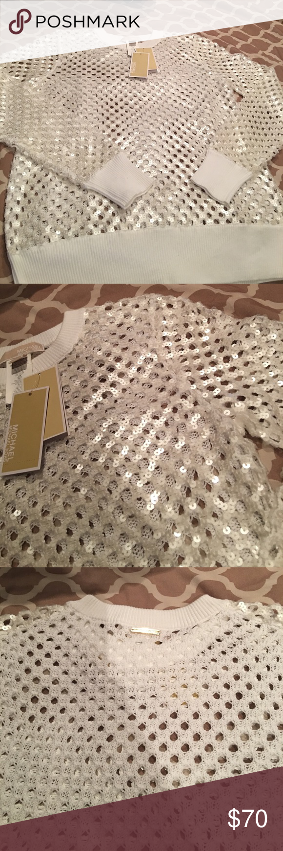 😍Michael Kors shirt!😍 White Michael Kors sweater/shirt .... BRAND NEW!!! Beautiful sequin detail on the sleeves and front .... entire shirt is see thru!! Michael Kors Sweaters Crew & Scoop Necks